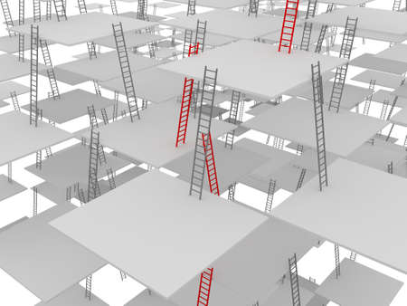 Difficult labyrinth from set of ladders