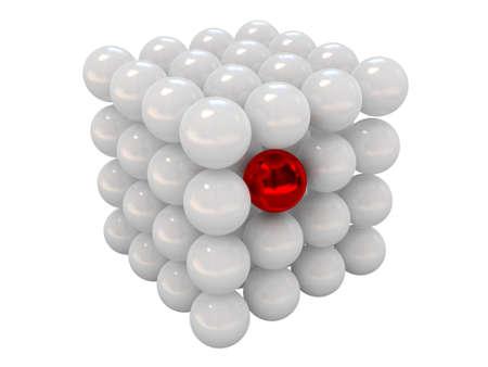 promotes:  Bola roja entre conjunto de bolas blancas