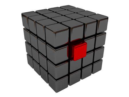 cubo: Cubo rojo entre conjunto de cubos negro