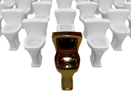 The gold toilet bowl is in the lead Stock Photo - 10846460