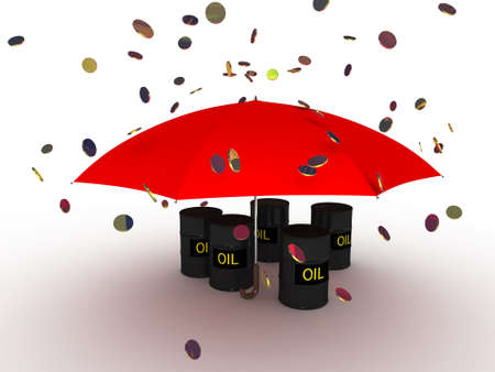Barrel with oil under an umbrella photo
