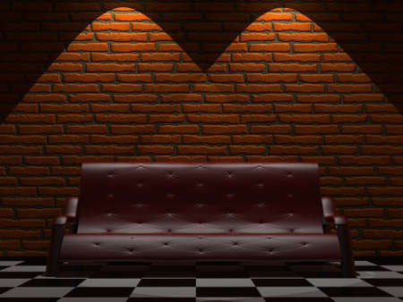 red couch: Red sofa near a brick wall