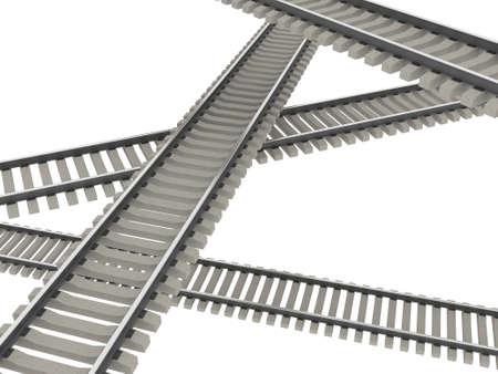 rail cross: Abstract interlacing of the railways Stock Photo