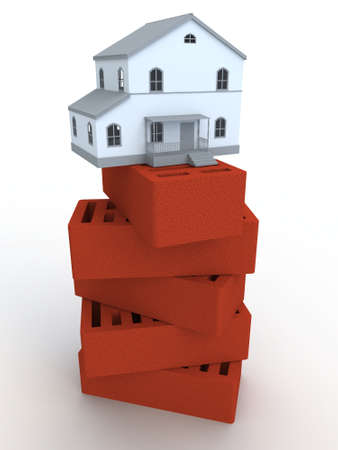 building bricks: The small house standing on bricks Stock Photo