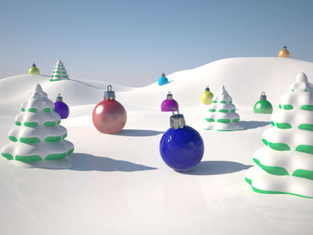 Toy winter landscape with snow and ornaments photo