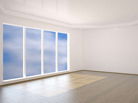 premise: A large room with a window