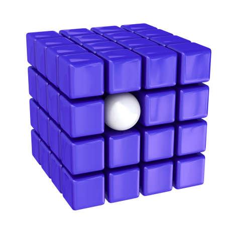 promotes: Bola blanca entre los cubos de color violeta