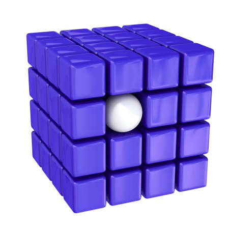 promotes: White ball among violet cubes Stock Photo