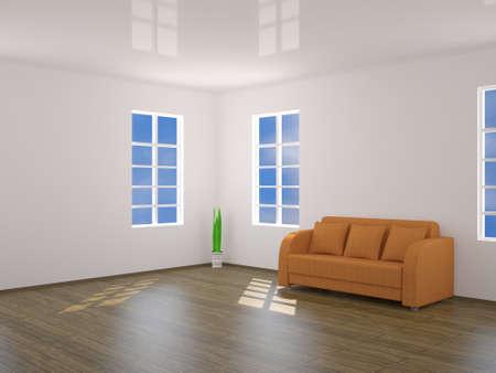 premise: Room with an orange sofa