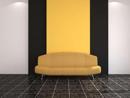 premise: The interior with the orange sofa