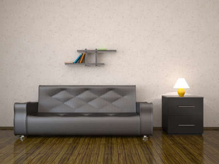 premise: Interior with a leather sofa