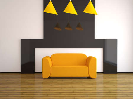 upholstered: Interior with an orange sofa Stock Photo