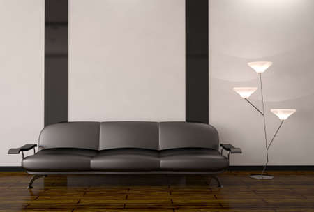 The interior with sofa and lamp photo