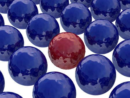 promotes: Bola roja entre los oscuros bolas azules