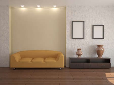 premise: The interior of the room with the orange couch