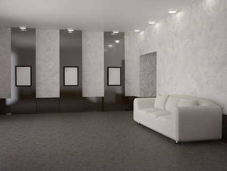 front room: The interior of the room with the white couch