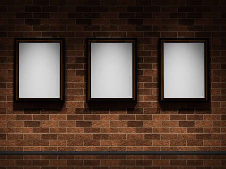 Three big pictures on a brick wall photo