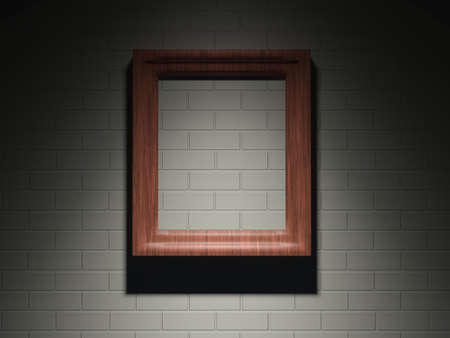 The big wooden frame on a brick wall photo