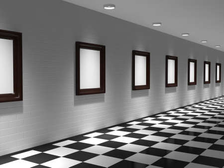 Gallery with paintings on the brick wall photo