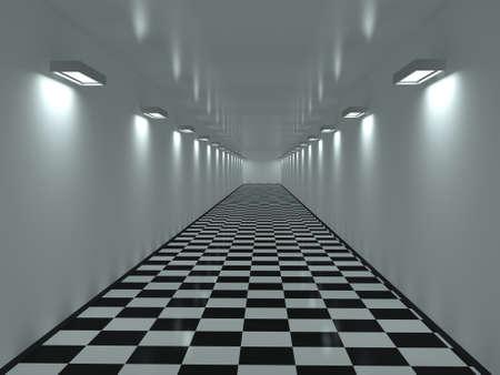 corridoi: Con un lungo corridoio su un pavimento di piastrelle