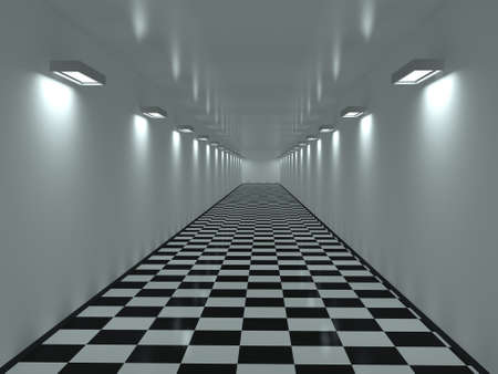 Long corridor with a tiles on a floor photo