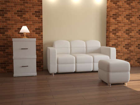 Interior with white furniture and brick walls photo