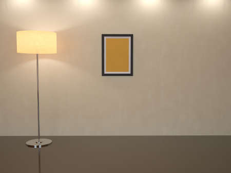 room for text: Room with a high floor lamp on a floor