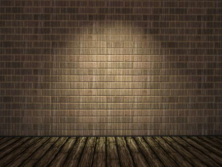 Old dirty brick wall and wooden floor Stock Photo - 12217798