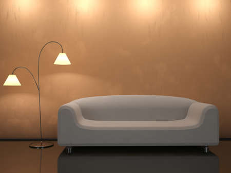 Del Interior, con un sofá y una lámpara de pie Foto de archivo