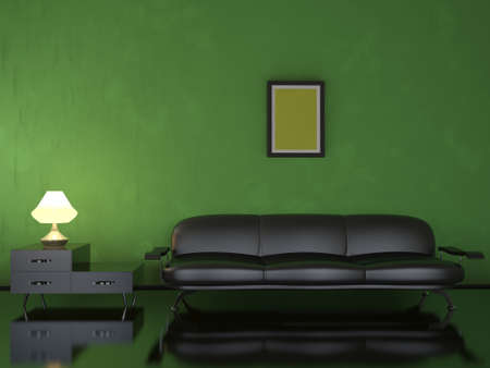 Interior of a room with a leather black sofa photo