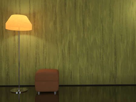Interior with a floor lamp and a padded stool photo