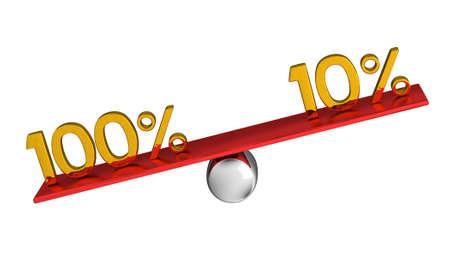 One hundred percent heavier than ten percent Stock Photo - 12217247