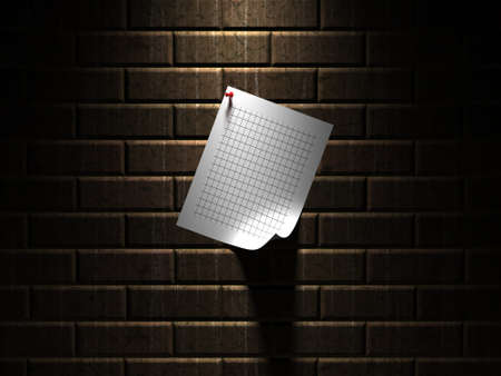 Sheet of paper hanging on a wall photo