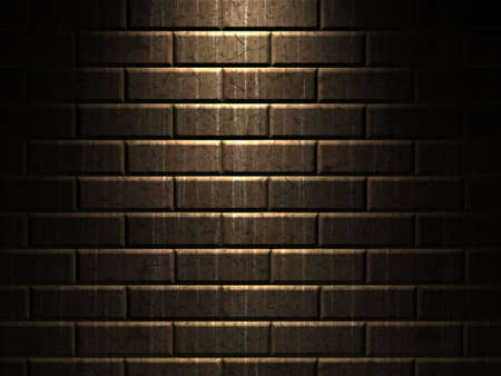 The old dirty brick wall is shined with a lantern photo