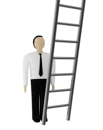 The person before a ladder of the career growth photo