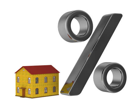 congruity: The small house and the big percent Stock Photo