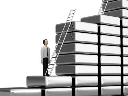 job market: The person before a ladder of the career growth Stock Photo