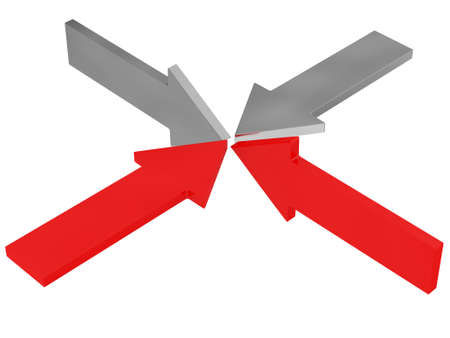Red and gray arrows on a white background photo