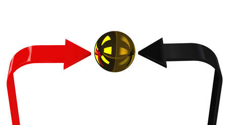 specify: Red and black arrows specify in a gold sphere