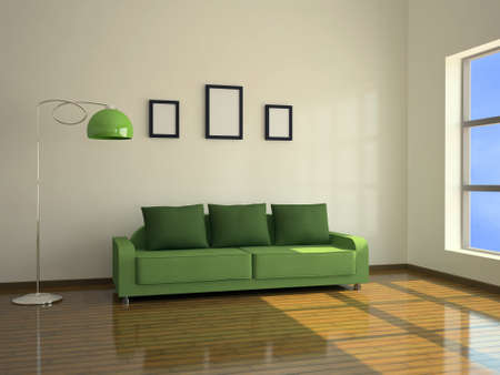 Interior with a green sofa and a floor lamp photo