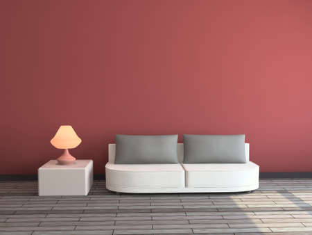 livingrooms: Interior with a sofa and a lamp Stock Photo