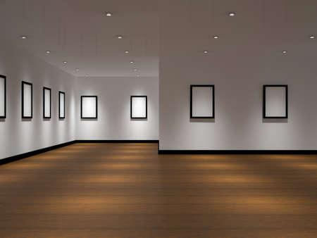 mus�e: La grande galerie avec des images noires vides