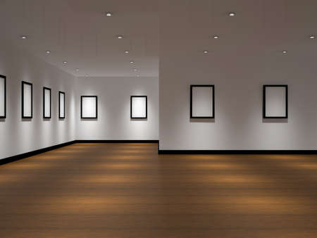 The big gallery with empty black frames Stock Photo - 12579920