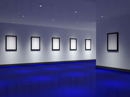 The big gallery with empty black frames Stock Photo - 12576482