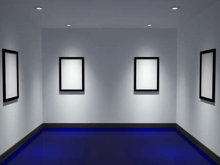 The gallery with empty black frames Stock Photo