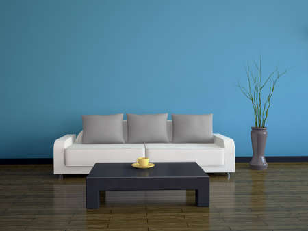 Interior with a white sofa and a black table Stock Photo - 12576483