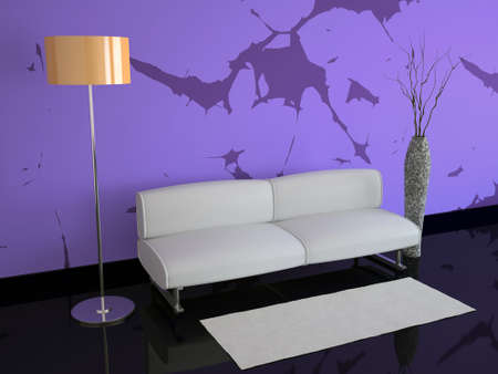 Room with violet walls and an orange floor lamp photo