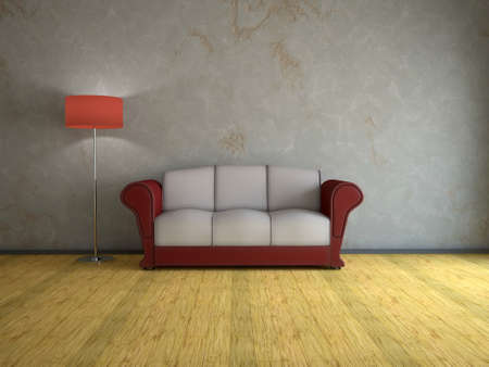 Interior of a room with an old sofa and a lamp photo