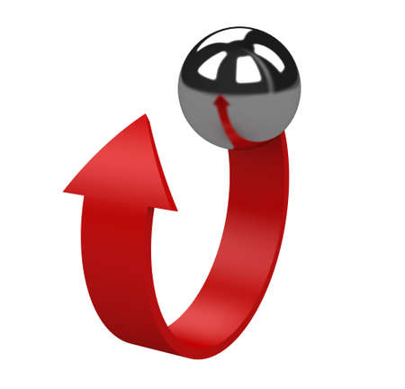 The red arrow from a metallic ball Stock Photo - 12579970
