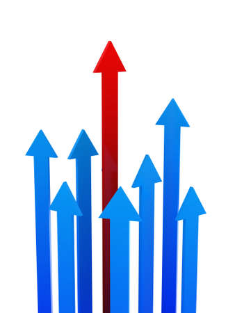 superiority: The red arrow above other blue arrows